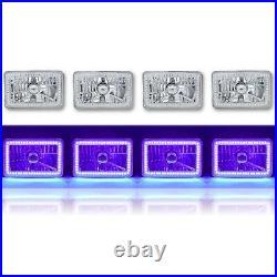 4X6 Purple SMD Halo Glass/Metal Headlight 6000K 6K LED Light Bulb Headlamp Set