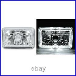 4X6 White Halo Angel Eye H4 Crystal Clear Headlight Headlamp with 6k LED Bulb Pair