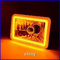 4x6 Switchback White DRL Halo / Amber Turn Signal 6k LED Headlight Lamp Each
