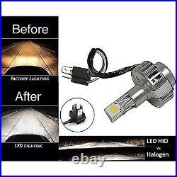 5-3/4 Blue SMD LED Halo Angel Eye Black Headlight with 6k LED Light Bulb Set of 4
