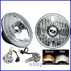 5-3/4 Crystal Clear Glass Metal Headlight 6k LED HID H4 Light Bulb Headlamp Pair