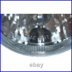 5-3/4 Crystal Clear Glass Metal Headlight 6k LED HID H4 Light Bulb Headlamp Set