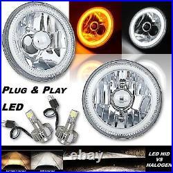 5-3/4 Switchback White Amber LED Halo DRL Turn Signal Angel Eye Headlight Pair