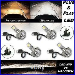 6K 6500K H4 SMD COB 360° LED White Headlight HID Hi/Low Light Bulb Kit Set of 4