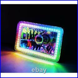 7x6 Bluetooth RGB SMD Color Chasing Halo Headlight 360° H4 LED Lamp Bulb PAIR