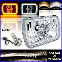 7x6 Switchback White Halo DRL Amber Turn Signal Angel Eye H4 LED Headlight Each