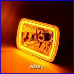 7x6 Switchback White Halo DRL Amber Turn Signal Angel Eye H4 LED Headlight Pair