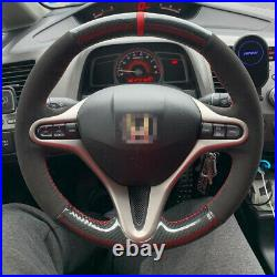 Black Carbon Suede Custom Steering Wheel Cover Red Stripe for Honda Civic Gen A8
