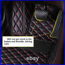 Car Full Coverage PU Leather Floor Mat for Honda Accord 10th Gen 2018 Red