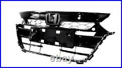 FOR 18 19 20 Honda Accord 10th Gen Front Upper Grille Grill Gloss Glossy Black