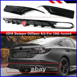 FOR 18-2020 ACCORD BLACK PEARL REAR BUMPER DIFFUSER With LED + CORNER APRON SPATS
