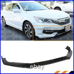 For 16-17 Honda Accord Gloss Blk Jdm Gt Style Front Bumper Lip Spoiler Splitter