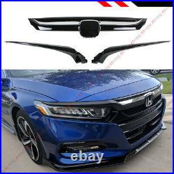 For 18-2020 10th Honda Accord Glossy Black Chrome Trim Sport Style Front Grille