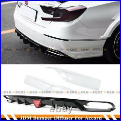 For 18-2020 Accord Gloss Black Led Rear Bumper Diffuser+ White Corner Apron Spat