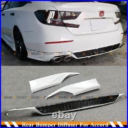 For 18-2020 Accord Platinum White Pearl Rear Bumper Diffuser + Corner Apron Spat
