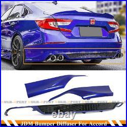 For 18-2020 Accord Still Night Pearl Blue Rear Bumper Diffuser+corner Apron Spat