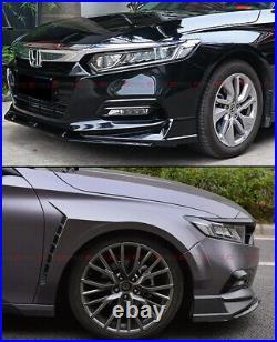 For 18-2020 Honda Accord Akasaka Painted Gloss Blk Front Bumper Lip Splitter Kit