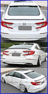 For 18-2020 Honda Accord Jdm Glossy Blk Trunk Spoiler + Rear Window Roof Spoiler