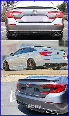 For 18-2020 Honda Accord Sport Akasaka Glossy Blk Bumper Diffuser+ Trunk Spoiler
