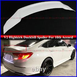For 18-2021 Accord Platinum White Pearl Jdm V2 High Kick Duckbill Trunk Spoiler