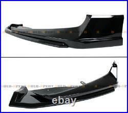 For 18-20 Accord Akasaka Gloss Black Front Bumper Lip+fog Light Trim Garnish Kit