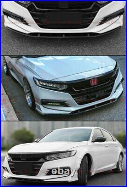 For 18-20 Accord Akasaka Pearl White Front Bumper Lip + Fog Light Trim Garnish