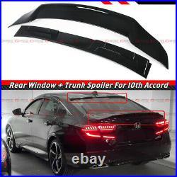 For 18-21 Accord Gloss Black Trunk Duckbill Wing+rear Window Roof Visor Spoiler
