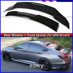 For 18-21 Honda Accord Gloss Blk Trunk Duckbill Wing + Rear Window Roof Spoiler