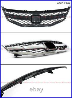 For 2011-12 Honda Accord 4dr Sedan Blk Chrome Jdm Sport Front Bumper Mesh Grill