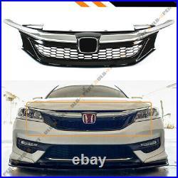 For 2016-17 9th Gen Honda Accord Sedan Chrome Black JDM Sport Style Front Grille