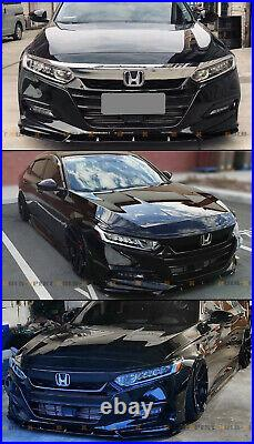 For 2018-2020 Accord Painted Gloss Black YF Style Front Bumper Lip Splitter Kit