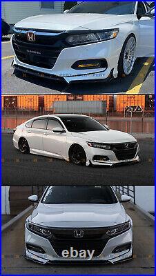 For 2018-2020 Honda Accord ACR Painted White Pearl Front Bumper Lip Splitter Kit
