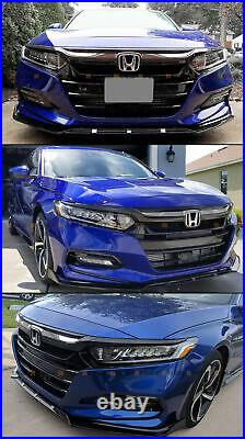 For 2018-2020 Honda Accord Glossy Blk Sport Style Front Grille With Chrome Garnish