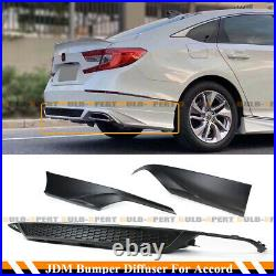For 2018-2020 Honda Accord Jdm Matt Blk Rear Bumper Diffuser + Corner Apron Spat