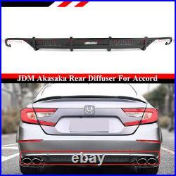 For 2018-2020 Honda Accord Sport Akasaka Glossy Blk Rear Bumper Diffuser Valance