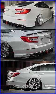 For 2018-2021 Accord Yofer V2 Led Rear Bumper Diffuser+ White Corner Apron Spat