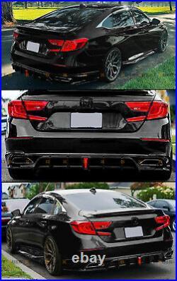 For 2018-2022 Accord Yofer V2 Led Rear Diffuser+ Gloss Black Corner Apron Spat
