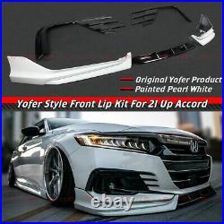 For 2021-2022 Accord Yofer Pearl White Front Bumper Lip + Fog Light Trim Garnish