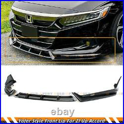For 2021-22 Honda Accord Yofer Painted Gloss Black Front Bumper Lip Splitter Kit