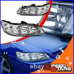 For 98-02 6th Gen Accord Coupe/sedan Headlights Lamps Chrome/clear Signal L+r