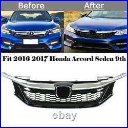 For Honda Accord 2016-17 9th Gen Sedan Chrome Black JDM Sport Style Front Grille