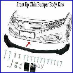 For Honda Civic 8th 9th Gen Front Bumper Lip Splitter Chin Spoiler + Strut Rods