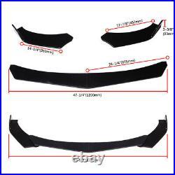 For Honda Civic 9th Gen Front Bumper Lip Splitter Chin Spoiler Black + Strut Rod