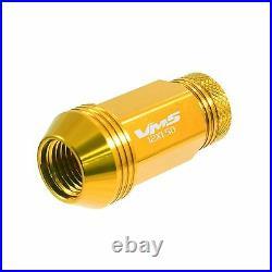 Gen 2 Vms 20 Gold 48mm Aluminum Open End Tuner Lug Nuts Wheels Rims 12x1.5 Set