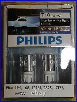 Genuine Philips 4000K T10 W5W LED Bulbs for Parking Lights Newest Generation