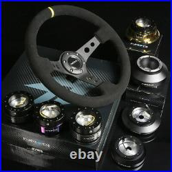NRG 130H HUB+CARBON GEN 1.5 QUICK RELEASE+3DISH STEERING WHEEL SUEDE WithMARKING