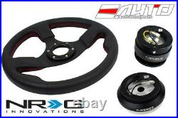 NRG 320mm 1.5 DP Race Leather Steering Wheel RD St with 110H Hub Gen2 Release BK