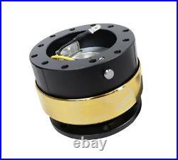 NRG Gen 2.0 Steering Wheel Quick Release Hub Black Body & Chrome Gold Ring