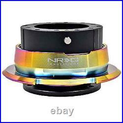 NRG Gen 2.8 Black Body / Neo Chrome Ring Steering Wheel Quick Release Kit 6-Hole