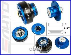 NRG Steering Wheel Short Hub SRK-130H + Blue Gen2 Quick Release Ti Chrome Ring